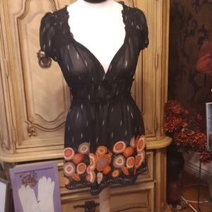 Sheer Shirt dress Blouse CHARLOTTE RUSSE sz L